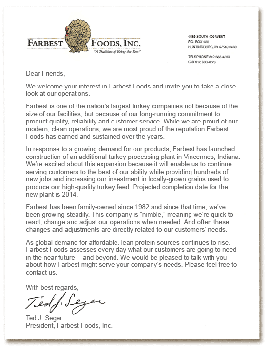 Letter from Ted J. Seger, President, Farbest Foods, Inc.